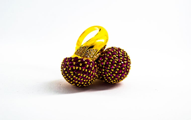 0.50 Carat White Diamond 19.60 Carat Ruby Yellow Gold Cocktail Pavé Cherry Ring For Sale 2