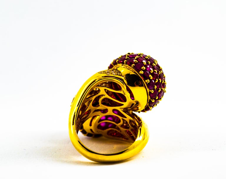 0.50 Carat White Diamond 19.60 Carat Ruby Yellow Gold Cocktail Pavé Cherry Ring For Sale 3