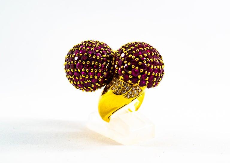 Art Deco 0.50 Carat White Diamond 19.60 Carat Ruby Yellow Gold Cocktail Pavé Cherry Ring For Sale