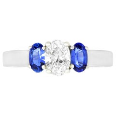 0.50 Ct Oval Diamond Oval Blue Sapphire 3 Stone Engagement Ring 14K White Gold