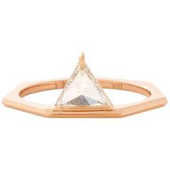 Eva Fehren 0.50 Carat White Diamond  Trillion Queen Ring in 18 Karat Rose Gold