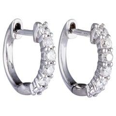 0.50 Carat White Gold 6 Diamond Huggie Hoop Earrings