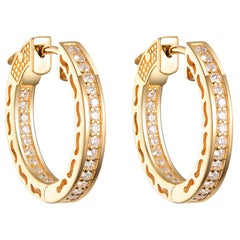 0.50 Carat Yellow Gold Diamond Hoop Earring