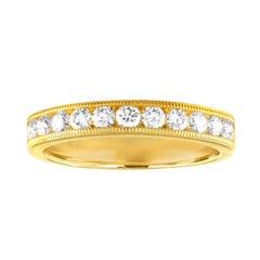 0.50 Carat Diamond Channel Set Milgrain Gold Half Band Ring