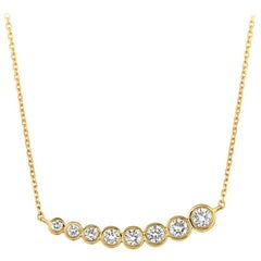 0.50 Carat Natural Diamond Bezel Necklace Pendant 14 Karat Yellow Gold G SI