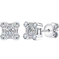 0.50 CT Round Baguette Princess Cut 18KT White Gold Diamond Tresor Stud Earrings