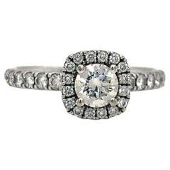 0.50 Ct Round Cut Diamond Ring GIA Certified 14K White Gold Engagement Ring