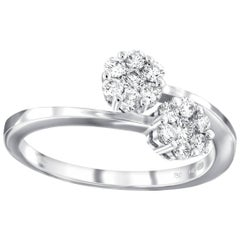 0.50ct Diamond flower-shaped Cluster Round Diamond Ring set in 18ct White Gold