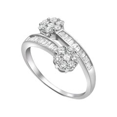 0.50ct Diamond Twist Baguettes 18 Karat White Gold Engagement Ring