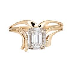 0.50ct Emerald Cut Diamond Ring 60s Vintage 14k Yellow Gold Estate Jewelry