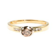 0.51 Carat Cognac Round Diamond Vintage 18 Carat Gold Engagement Ring