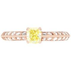 0.51 Carat Cushion Cut Yellow Diamond Engagement Ring