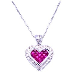 0.51 Carat Diamond/1.05 Carat Ruby 18 Karat Gold Hearts Pendant Necklace
