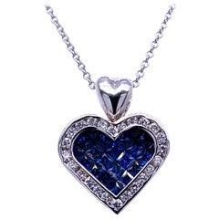 0.51 Carat Diamond/1.47 Carat Blue Sapphire 18K Gold Hearts Pendant Necklace