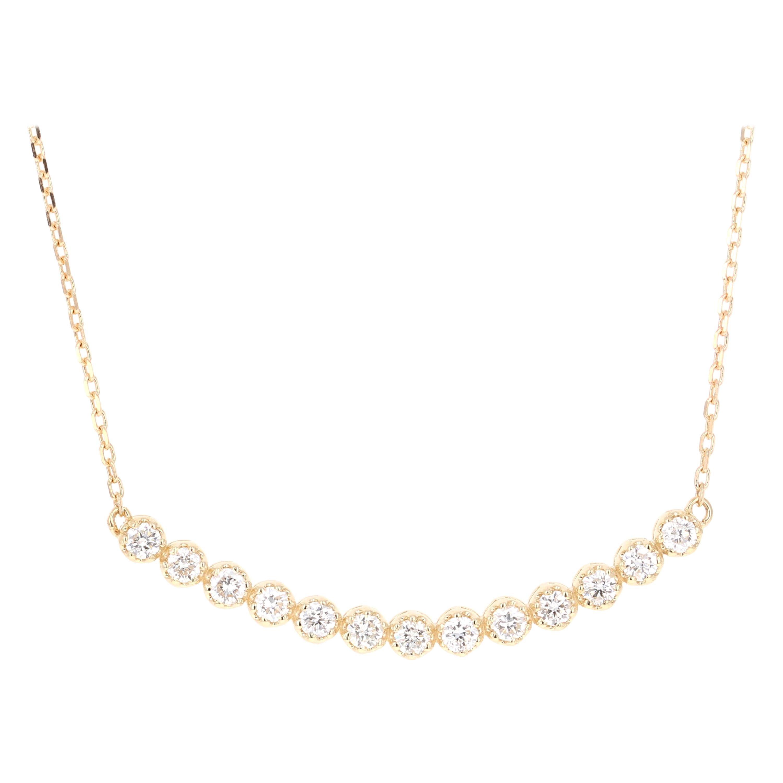 0.51 Carat Diamond Pendant with Chain Necklace 14 Karat Yellow Gold