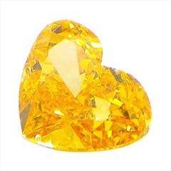 0.51 Carat GIA Certified Fancy Vivid Orange Yellow Heart-Shaped Diamond