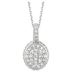 0.51 Carat Natural Diamond Oval Necklace
