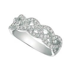 0.51 Carat Natural Diamond Ring G SI 14k White Gold