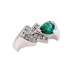 0.51 Carat Natural Zambian Emerald Gold Ring with Diamonds