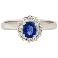 0.51 Carat Oval Sapphire Center Diamond Halo Ring Platinum in Stock