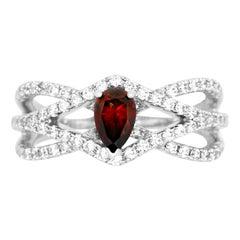Pear Shape Red White Diamond Geometric Triple Criss Cross Band 14K Ring