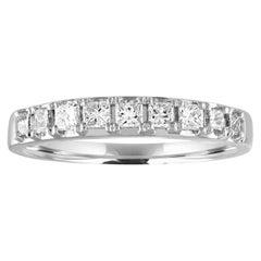 0.51 Carat Princess Cut Diamond Nine-Stone Half Band Gold Ring