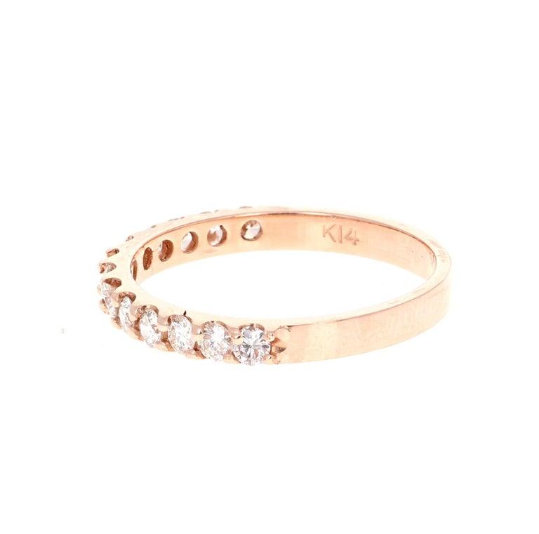 Modern 0.51 Carat Round Cut Diamond Band 14 Karat Rose Gold For Sale
