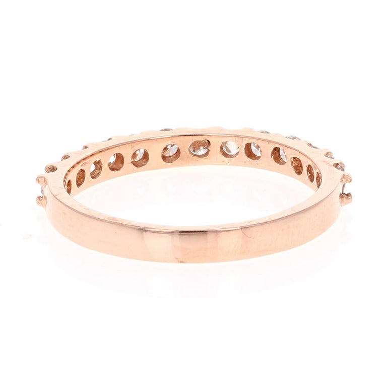 0.51 Carat Round Cut Diamond Band 14 Karat Rose Gold In New Condition For Sale In Los Angeles, CA