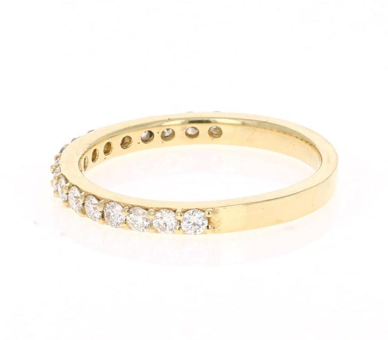 Modern 0.51 Carat Round Cut Diamond Band 18 Karat Yellow Gold For Sale