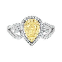 0.51tct Yellow Diamond Ring with 0.41tct Diamonds Set in 14k Two Tone Gold