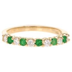 0.52 Carat Emerald Diamond 14 Karat Yellow Gold Band