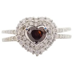 IMPORTANT GIA 0.52 Carat Fancy REDDISH Brown Heart Diamond Ring 18K Gold