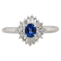 0.52 Carat Oval Cut Sapphire Center Diamond Cocktail Ring Platinum in Stock