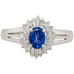 0.52 Carat Oval Sapphire Center Diamond Cocktail Ring Platinum in Stock