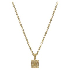 0.52 Carat Yellow Cushion Cut Diamond Pendant 18 Karat Yellow Gold