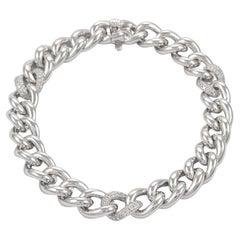 0.52ct Carat Diamond Cuban Link Bracelet 18 Karat White Gold