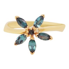 0.53 Carat Natural Alexandrite Flower Ring