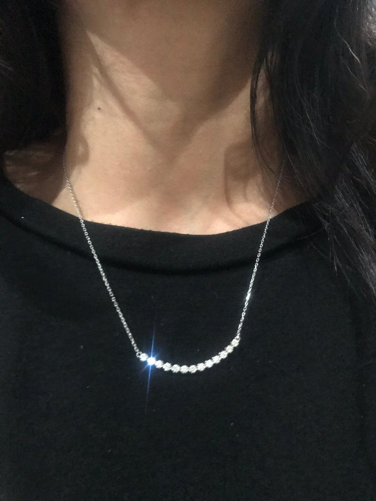 Round Cut 0.53 Carat Diamond Pendant with Chain Necklace 14 Karat White Gold For Sale