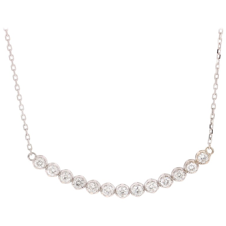 0.53 Carat Diamond Pendant with Chain Necklace 14 Karat White Gold For Sale