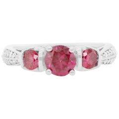 0.53 Carat Pink and White Diamond Ring