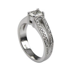 0.53 Carat Radiant Diamond Solitaire Ring with Accent Stones in White Gold