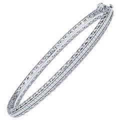 0.53 Carat Round Diamond and 14 Karat White Gold Bangle Bracelet