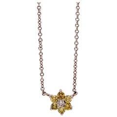 0.53 Carat Round Yellow Diamond Necklace