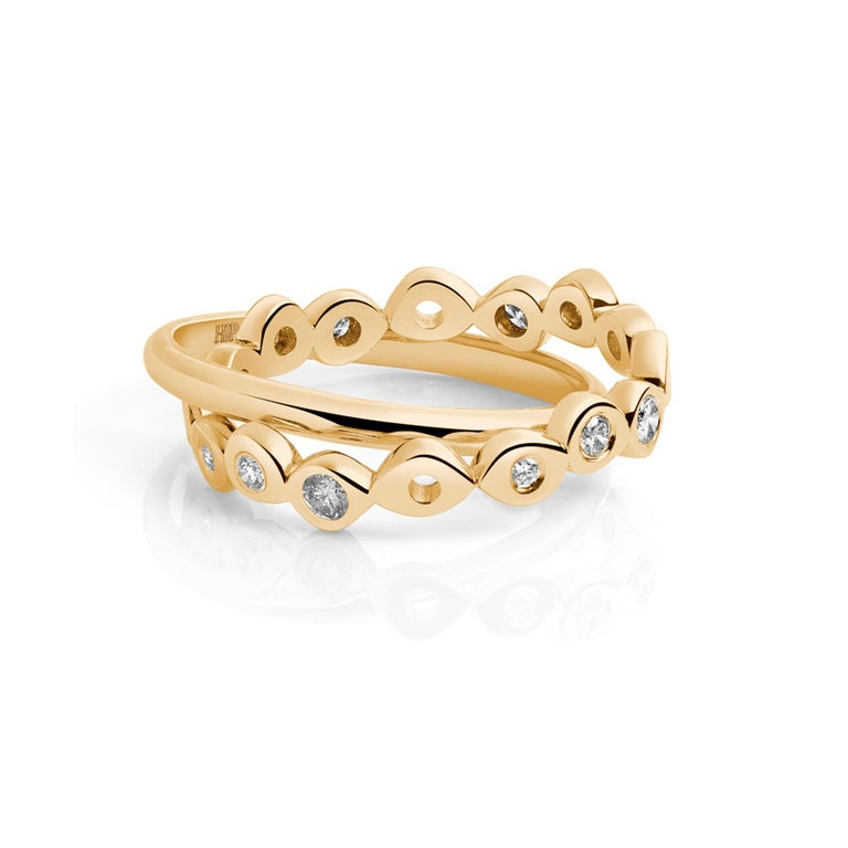 Hi June Parker 14 Karat Gold Connected Rings 0.53 Carat Salt Pepper Diamonds  In New Condition For Sale In New York, NY