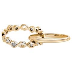 Hi June Parker 14 Karat Gold Connected Rings 0.53 Carat Salt Pepper Diamonds