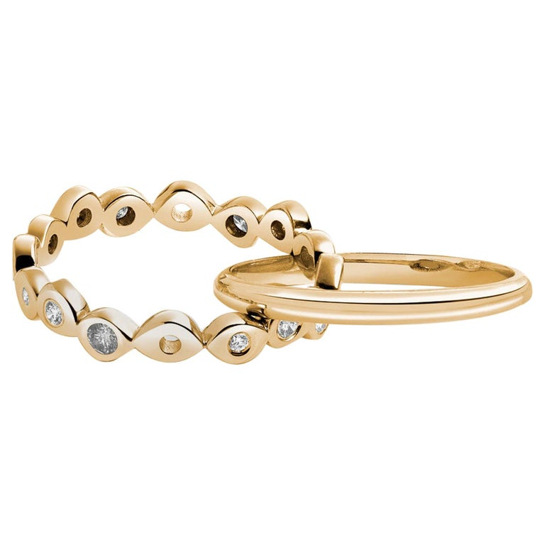Hi June Parker 14 Karat Gold Connected Rings 0.53 Carat Salt Pepper Diamonds  For Sale
