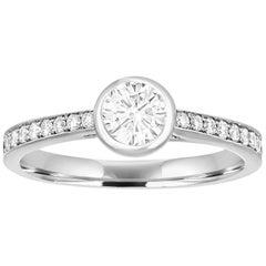 0.53 Carat Diamond Bezel Gold Engagement Ring