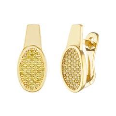 0.53 Carats Fancy Yellow Diamonds & Yellow Gold Earrings