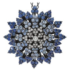0.53 White GSI Diamonds 4.87 Blue Sapphires 18 Karat White Gold Pendant Necklace