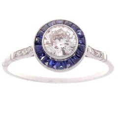 0.54 Carat Diamond Sapphire Platinum Engagement Ring